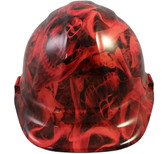 Burning Flames Large Skulls Hydro Dipped Hard Hats Cap Style