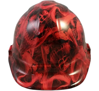 Burning Flames Large Skulls Hydro Dipped Hard Hats Cap Style