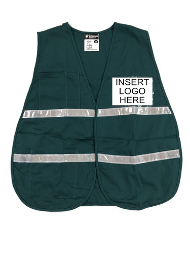 Green Incident Command Safety Vests, Silver Stripes w/ Clear Pocket Front pic 1