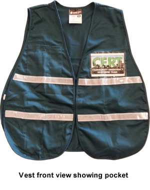 Incident Command Safety Vests GREEN with Silver Stripes ~ CERT LOGO on FRONT AND BACK pic 1