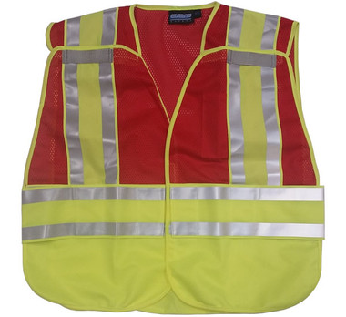 ERB RED Safety Vests ~ 3 pockets with Lime/Silver Reflective Stripes Pic 3