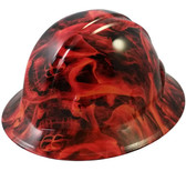 Burning Flames Large Skulls Hydro Dipped Hard Hats Full Brim Style