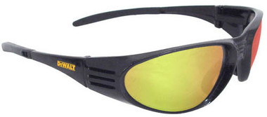 Dewalt Ventilator ~ BLACK Frame Safety Glasses ~ With Yellow Mirror Lens