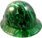 Venom Snake Green Hydro Dipped Hard Hats Full Brim Style