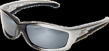 Edge Kazbek Safety Glasses ~ Black Frame, Silver Mirror Lens