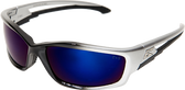 Edge Kazbek Safety Glasses ~ Black Frame, Blue Mirror Lens