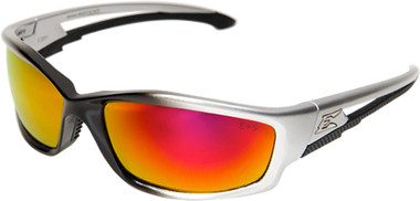 Edge Kazbek Safety Glasses ~ Black Frame, Aqua Precision Red Mirror Lens