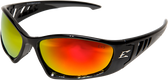 Edge Baretti Safety Glasses ~ Black Frame, Aqua Precision Red Mirror Lens