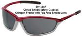 Crews Shock Safety Glasses ~ Crimson Frame ~ Fog Free Smoke Lens