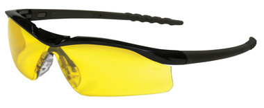 Crews Dallas Safety Glasses ~ Black Frame ~ Amber Lens