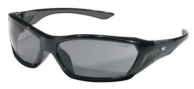 Crews Force Flex Safety Glasses ~ Black Frame - Smoke Lens