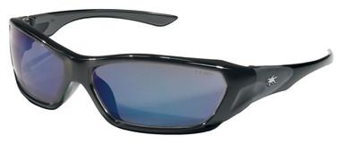 Crews Force Flex Safety Glasses ~ Black Frame - Blue Diamond Lens