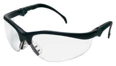 Crews Klondike Plus Safety Glasses ~ Black Frame, Ratchet Temple ~ Clear Anti-Fog Lens