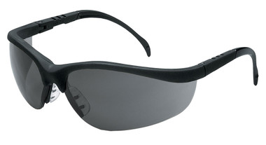 Crews Klondike Plus Safety Glasses ~ Black Frame, Ratchet Temple ~ Grey Anti-Fog Lens