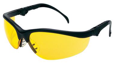 Crews Klondike Plus Safety Glasses ~ Black Frame, Ratchet Temple ~ Amber Lens