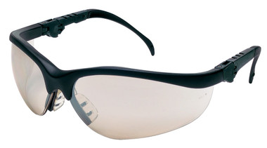 Crews Klondike Plus Safety Glasses ~ Black Frame, Ratchet Temple ~ Indoor/Outdoor Mirror Anti-Fog Lens