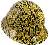 Snakeskin Yellow Hydro Dipped Hard Hats Full Brim Style