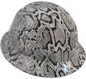 Snakeskin White Hydro Dipped Hard Hats Full Brim Style