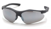 Pyramex Fortress Safety Glasses ~ Black Frame ~ Silver Mirror Lens