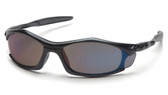 Pyramex Solara Safety Glasses ~ Black Frame ~ Blue Mirror Lens