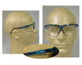 Uvex Genesis Safety Glasses ~ Vapor Blue Frame ~ Clear Lens