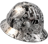 Tattoo Silver Hydro Dipped Hard Hats Full Brim Style