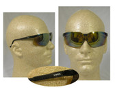 Uvex Genesis Safety Glasses ~ Black Frame ~ Gold Mirror Lens