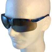 Uvex Genesis Safety Glasses ~ Vapor Blue Frame ~ Gold Mirror Lens