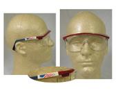 Uvex Astrospec 3000 Glasses ~ Red/White/Blue Frame ~ Clear Lens