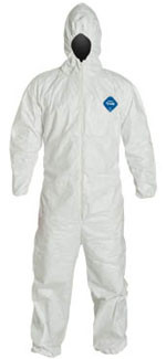 DuPont TYVEK ~ Nonwoven Fiber Coveralls ~ With Hood Elastic Wrists and Ankles ~ (5 SUIT SAMPLE PACK)