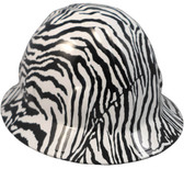 Zebra White Hydro Dipped Hard Hats Full Brim Style