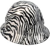 Zebra White Hydro Dipped Hard Hats Full Brim Style