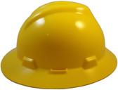 MSA V-Gard Full Brim Hard Hats with Fas-Trac Suspensions Yellow