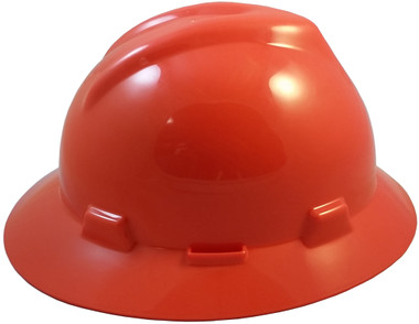 MSA V-Gard Full Brim Hard Hats with Fas-Trac Suspensions Orange