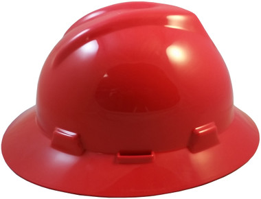 MSA V-Gard Full Brim Hard Hats with Fas-Trac Suspensions Red