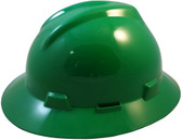 MSA V-Gard Full Brim Hard Hats with Fas-Trac Suspensions Green