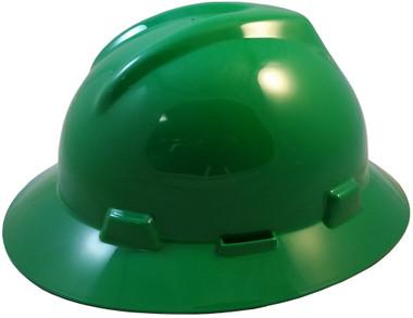 MSA V-Gard Full Brim Hard Hats with Fas-Trac Suspensions Green