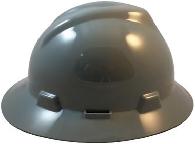 MSA V-Gard Full Brim Hard Hats with Fas-Trac Suspensions Gray
