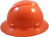 MSA V-Gard Full Brim Hard Hats with Fas-Trac Suspensions Hi Viz Orange