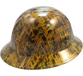 Oilfield Camo Yellow Hydro Dipped Hard Hats Full Brim Style