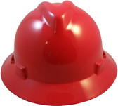 MSA V-Gard Full Brim Hard Hats with Staz-On Suspensions Standard Red