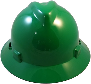 MSA V-Gard Full Brim Hard Hats with Staz-On Suspensions Green