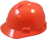 MSA V-Gard Cap Style Hard Hats with Fas-Trac Suspensions Hi Viz Orange