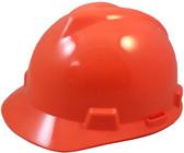 MSA V-Gard Cap Style Hard Hats with Fas-Trac Suspensions Hi Viz Orange
