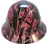 Muddy Girl Pink Hydro Dipped Hard Hats Full Brim Style