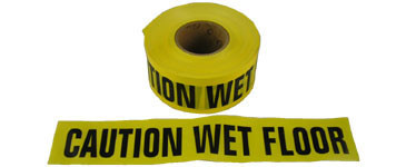 Barrier Tape Caution Wet Floor 3 inch x 1000 Feet Rolls Pic 1