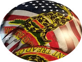 Don't Tread on Me USA FLAG Design Hydro Dipped Hard Hats Cap Style Design - Detail View