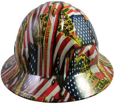 Don't Tread on Me Design Hydro Dipped Hard Hats Full Brim Style