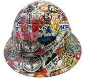 Sticker Bomb 4 Design Hydro Dipped Hard Hats Full Brim Style