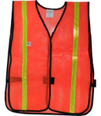 Orange PVC Coated Safety Vests with 1 Inch Lime Stripes Pic 3